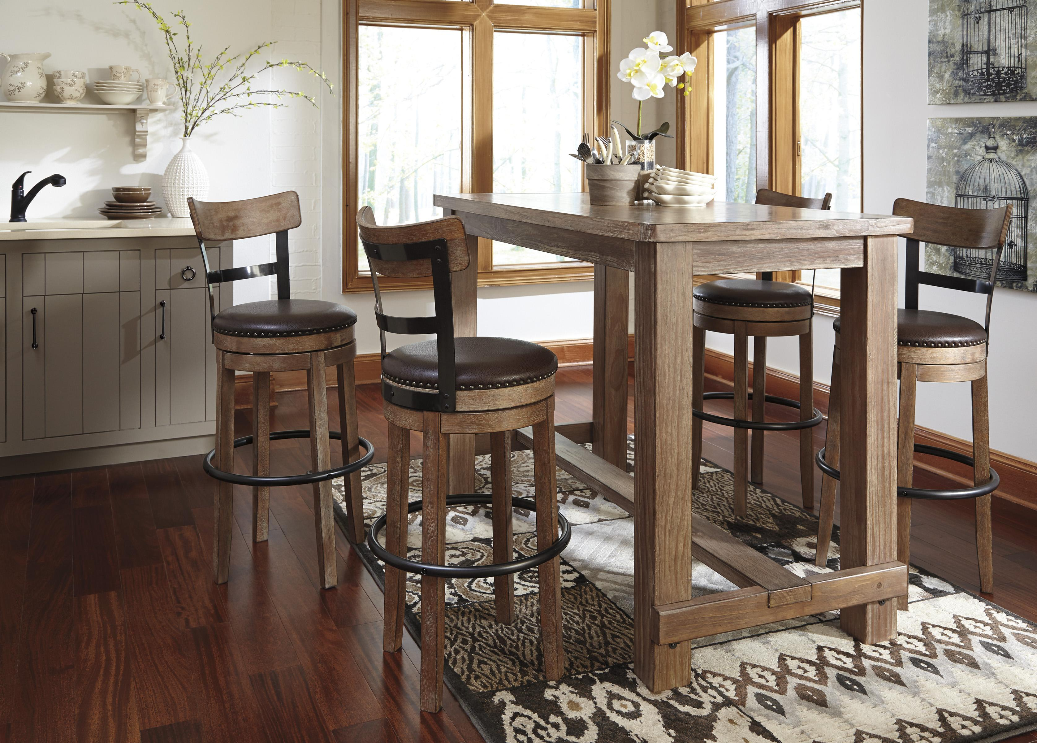 Signature Design By Ashley Pinnadel 5 Piece Bar Table Set With Industrial  Style Adjustable Swivel Stools   Wilsonu0027s Furniture   Pub Table And Stool  Sets ...