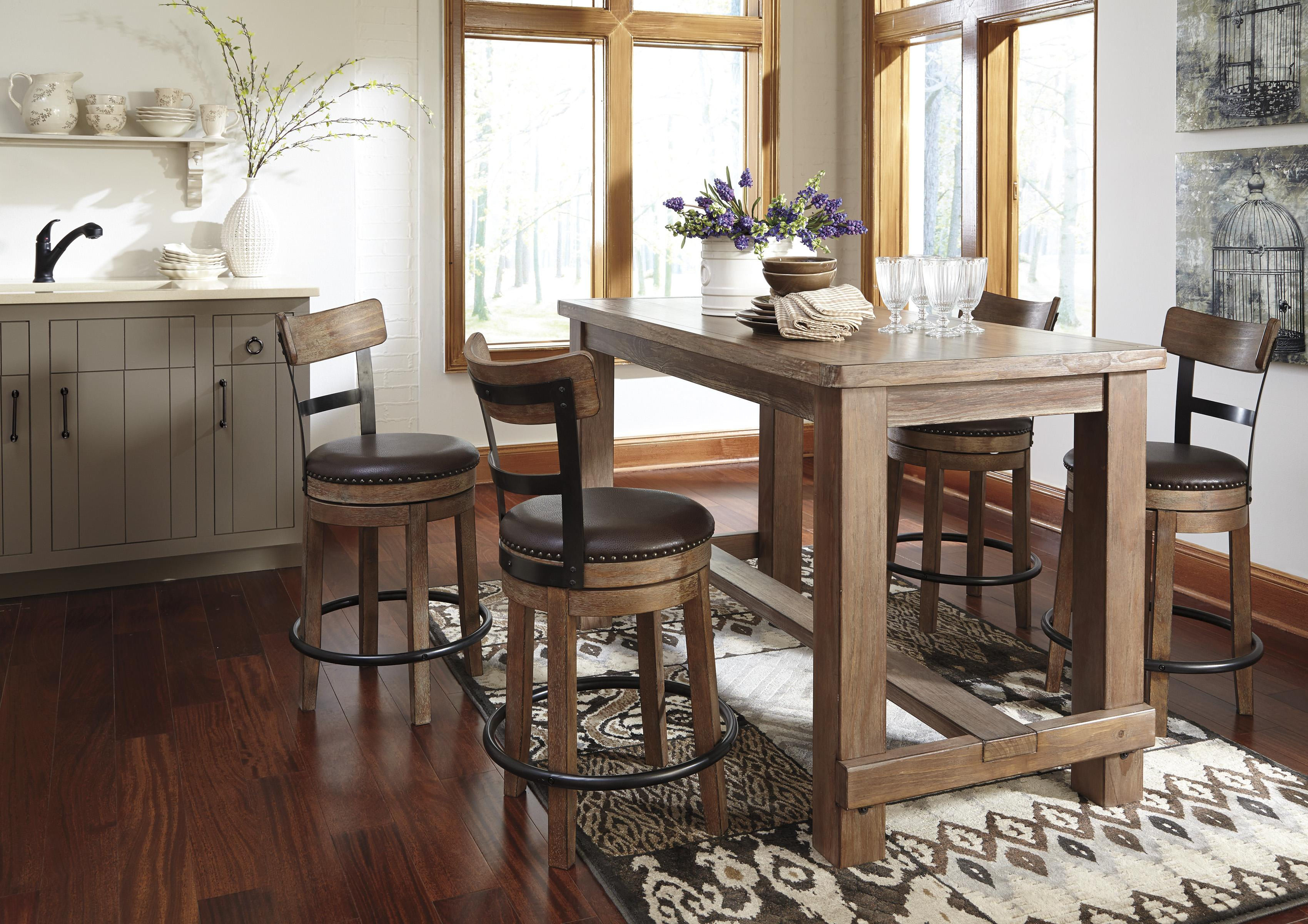 Signature Design by Ashley Pinnadel Rectangular Pine Veneer Dining Room Counter Table in Wire Brushed Brown Gray Finish | Sparks HomeStore \u0026 Home ... & Signature Design by Ashley Pinnadel Rectangular Pine Veneer Dining ...