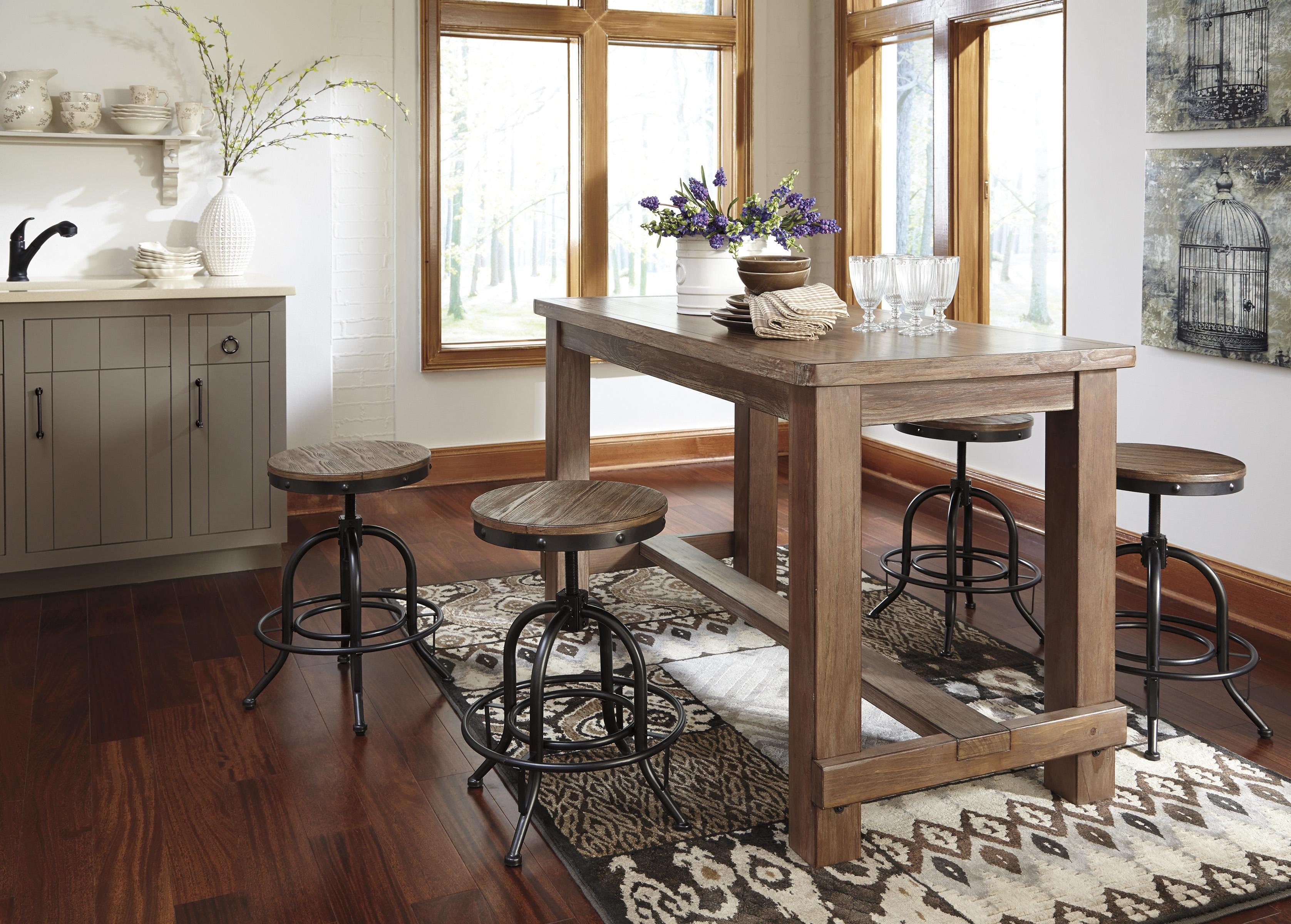 Signature Design By Ashley Pinnadel 5 Piece Bar Table Set With Industrial Style Adjustable Swivel Stools