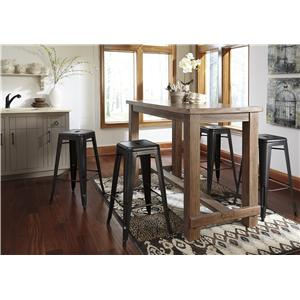 Signature Design by Ashley Pinnadel 5-Piece Bar Table Set with Industrial Style Adjustable Swivel Stools