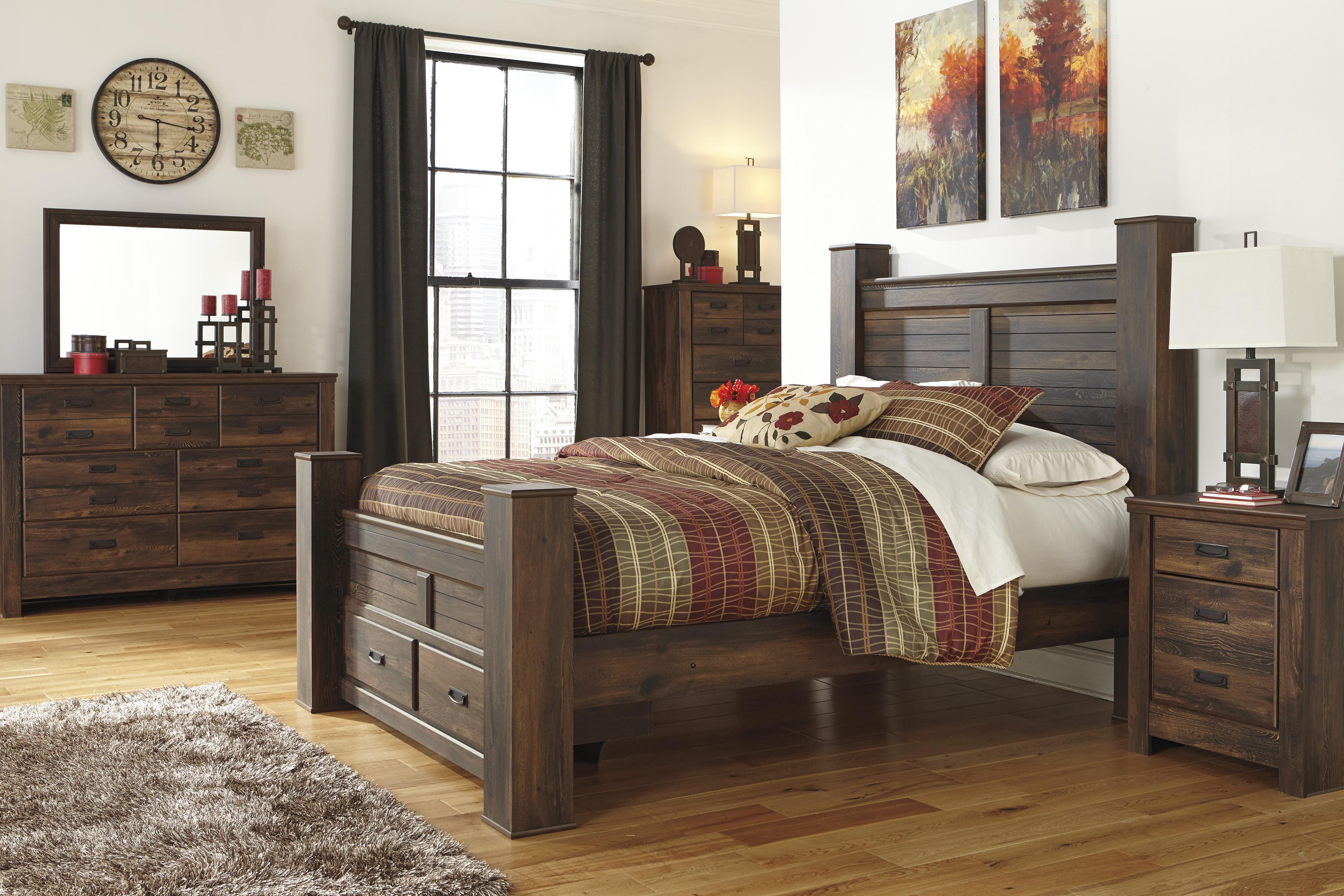 Ashley rustic bedroom furniture - Signature Design By Ashley Furniture Quinden Rustic Queen Poster Bed Sam S Appliance Furniture Headboard Footboard
