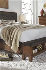 Bed with Upholstered Bench Footboard and Upholstered Side Rails