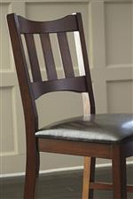 Slat Back Counter Stool with Brown Faux Leather Seat