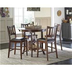 Signature Design by Ashley Renaburg 5-Piece Oval Counter Extension Table with Storage Set