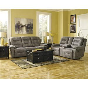 Signature Design by Ashley Rotation - Smoke Manual Reclining Living Room Group
