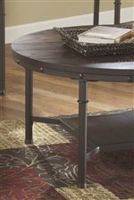 Round Table Tops with Wire Brushed Veneer and Tubular Metal Frames with Nail Head Accents