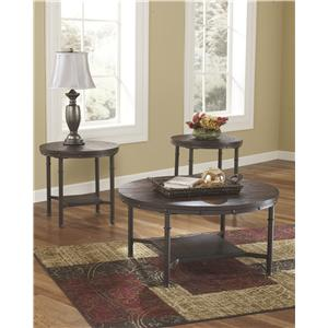 Signature Design by Ashley Sandling Rustic Metal and Wood Veneer Occasional Table Set
