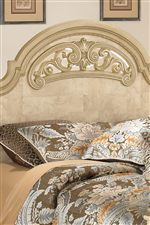 Metallic Champagne Tipped Bead Decorated Headboard, Footboard, and Mirror Frame