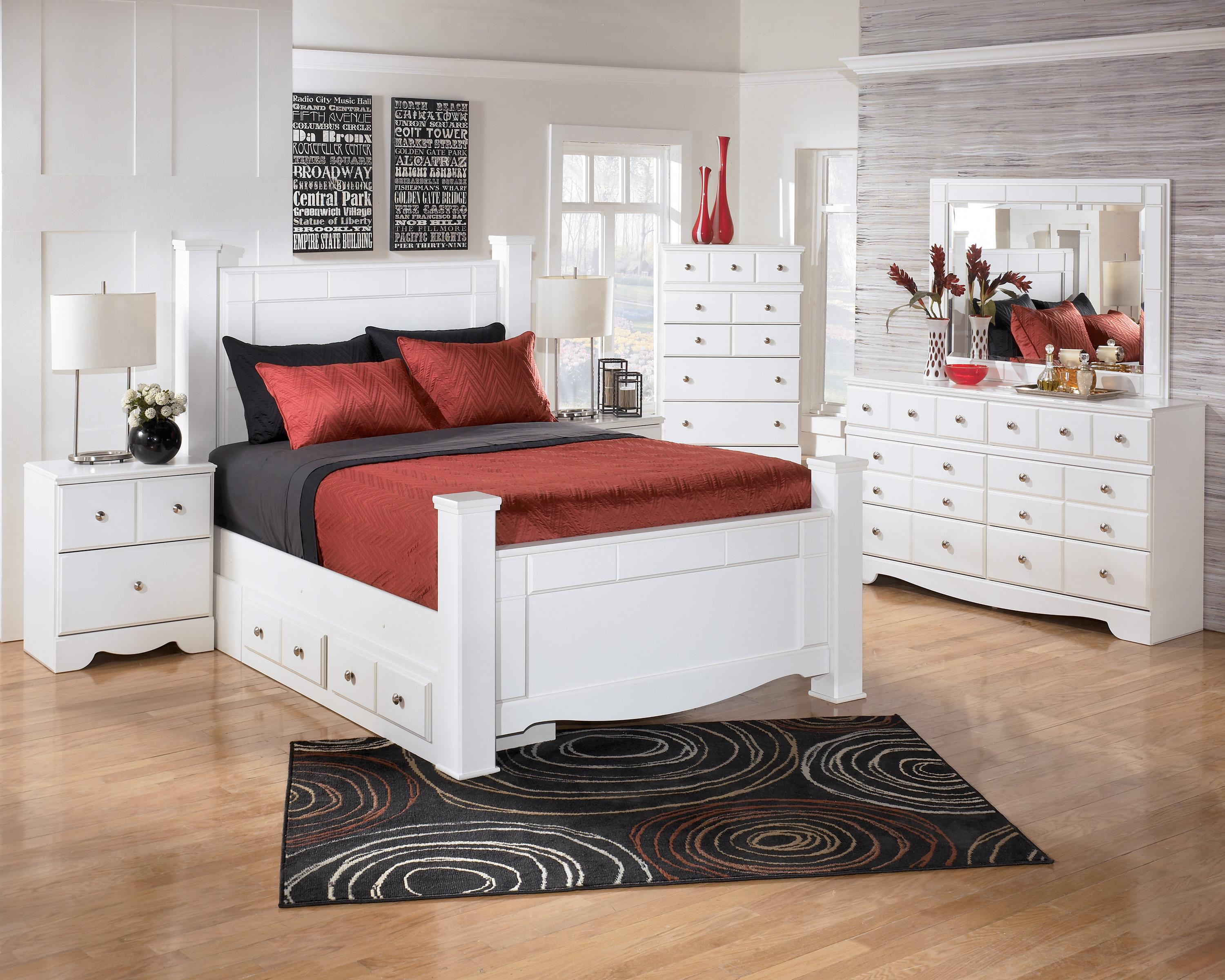 Contemporary Poster Bed signature designashley weeki contemporary queen poster bed