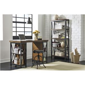 Signature Design by Ashley Shayneville Medium Bookcase with Metal Frame and Wood Shelves