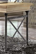Distressed Pine in Bisque Finish and Industrial Style Metal Supports with Dark Finish