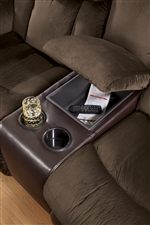 Storage Console on Double Reclining Loveseat