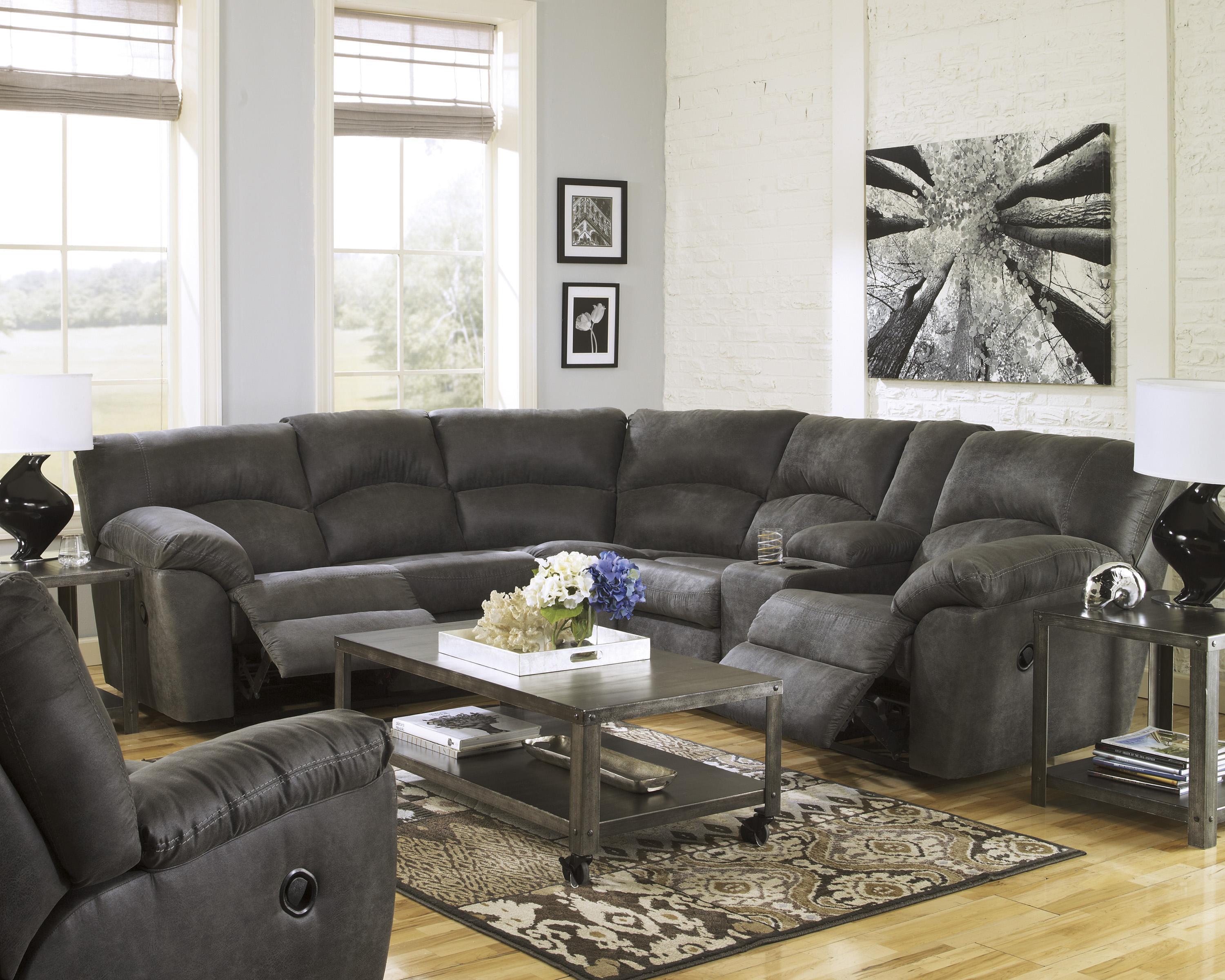 Signature Design by Ashley Tambo - Pewter 2-Piece Reclining Corner Sectional with Center Console - Wayside Furniture - Reclining Sectional Sofas : grey reclining sectional sofa - Sectionals, Sofas & Couches