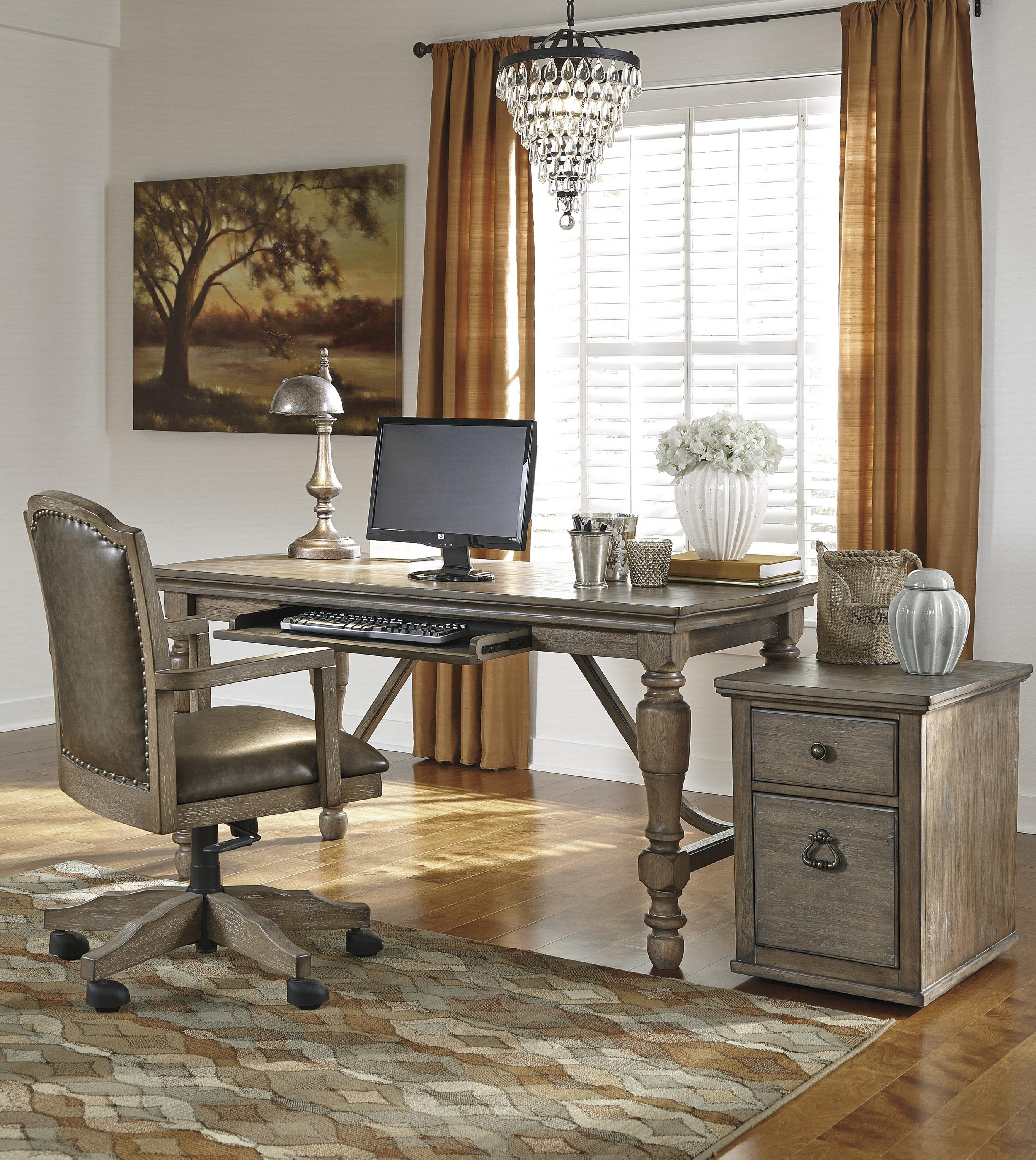signature design by ashley furniture tanshire gray brown home office desk with turned legs sams appliance furniture table desk ashley furniture home office desk