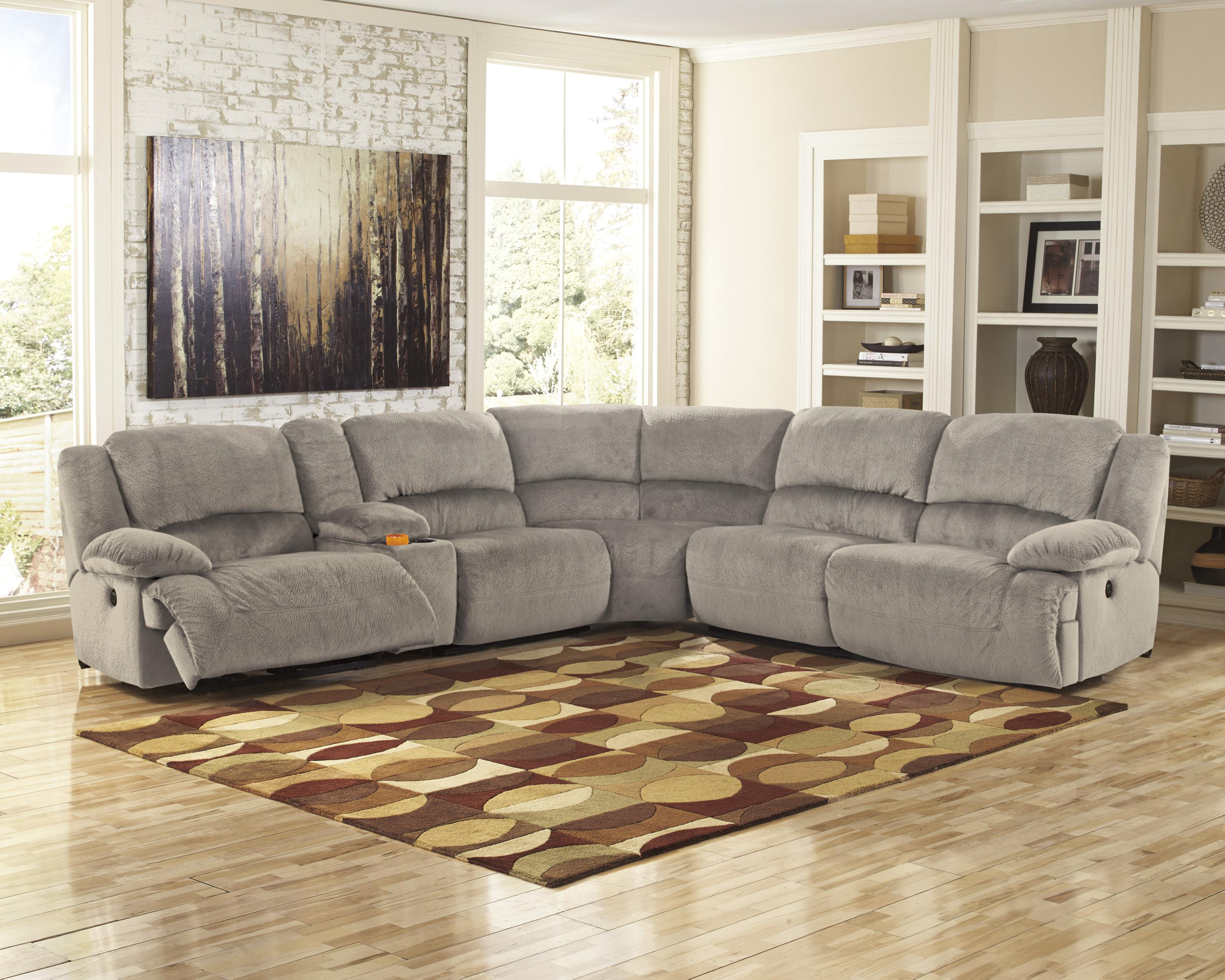 Signature Design by Ashley Toletta - Granite Reclining Sectional with Console u0026 Right Press Back Chaise - Wayside Furniture - Reclining Sectional Sofas : recliner chaise - Sectionals, Sofas & Couches