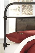 Metal Bed with Center Rustic Panels