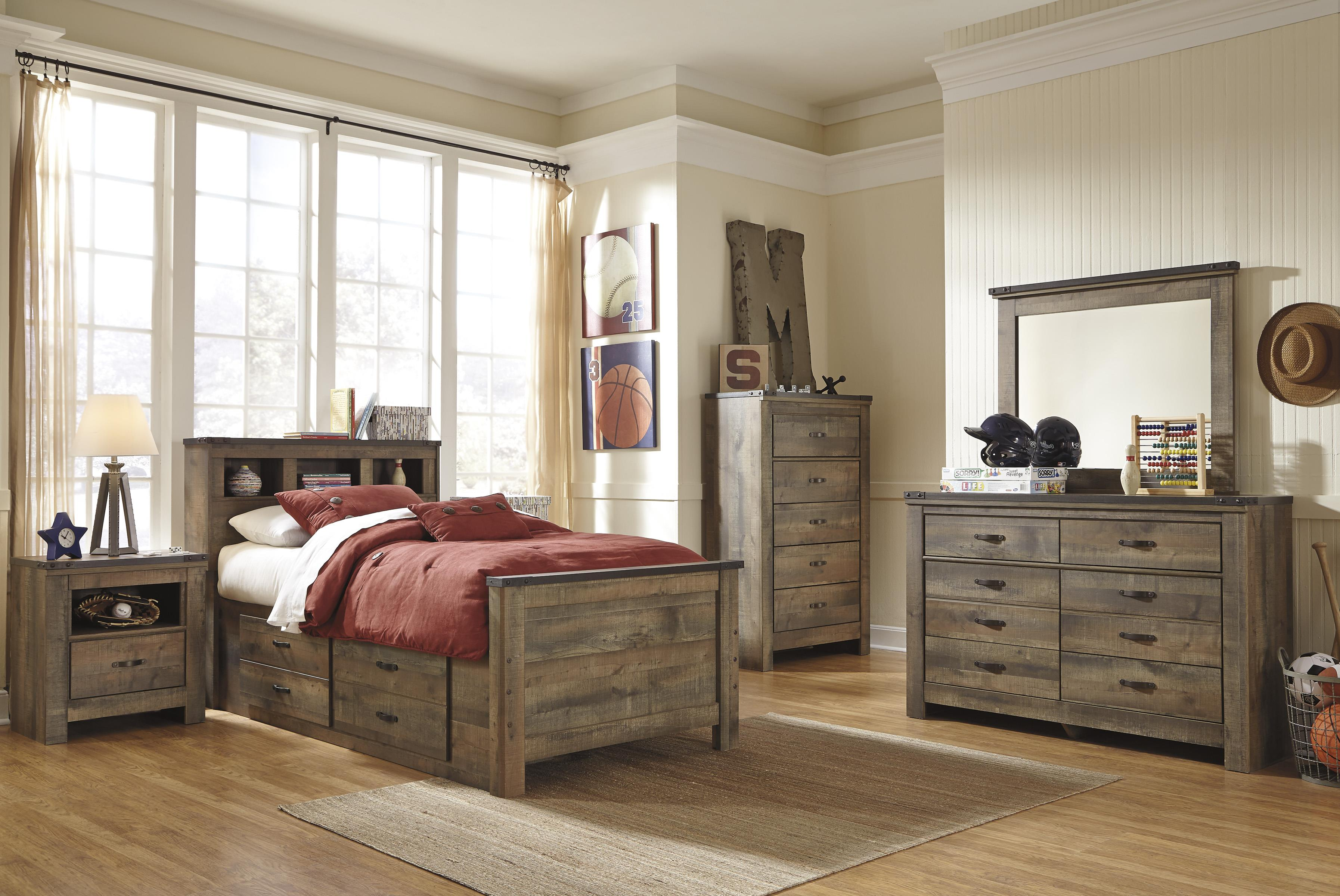 Signature Design By Ashley Trinell Loft Bookcase   Wayside Furniture   Open  Bookcases