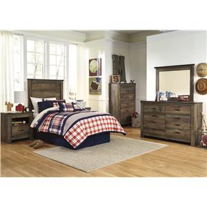 Signature Design by Ashley Trinell Rustic Look Queen Panel Headboard with Metal Brackets