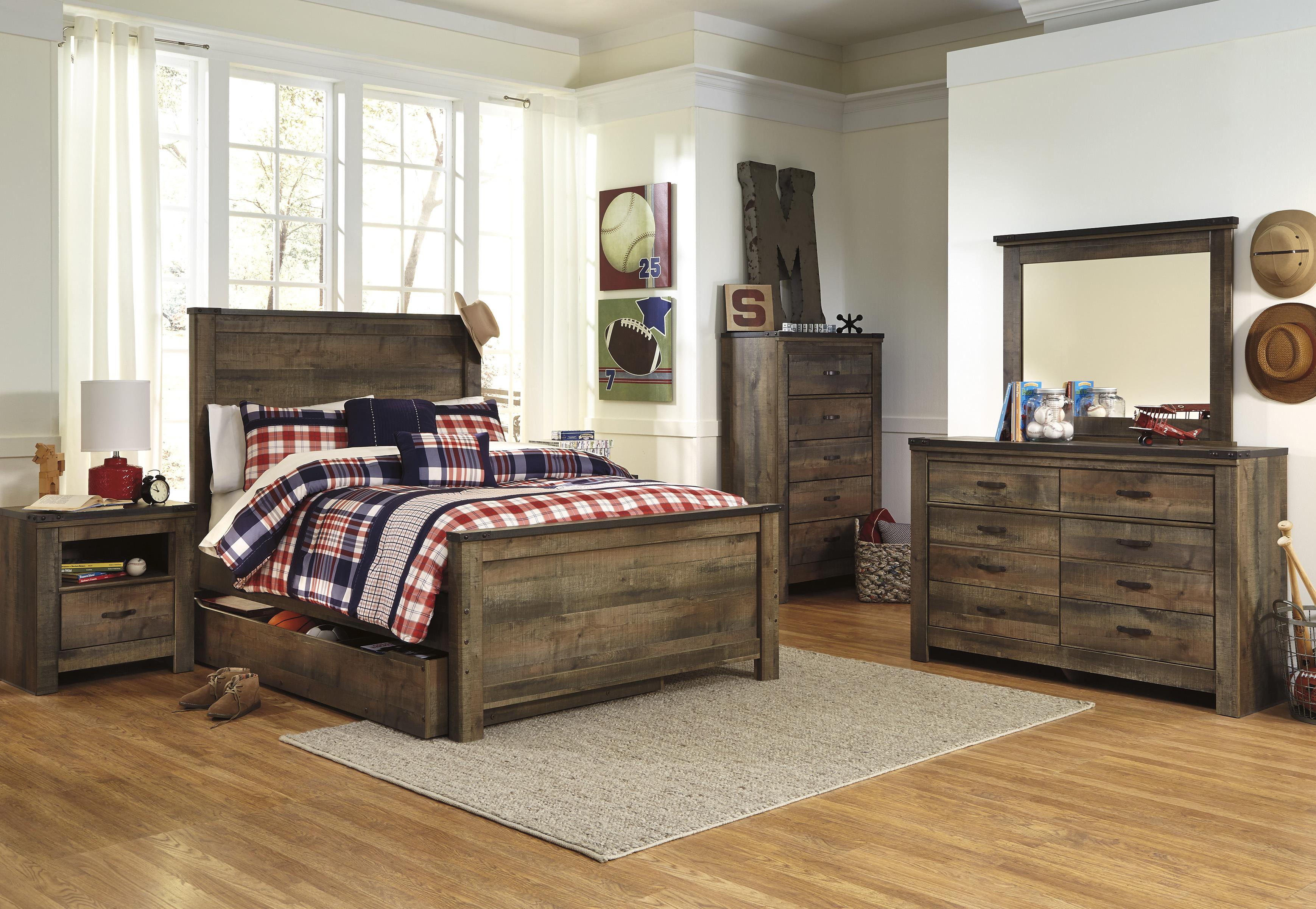Ashley rustic bedroom furniture - Signature Design By Ashley Trinell Rustic Look Full Bookcase Bed With Under Bed Storage Pilgrim Furniture City Bookcase Beds