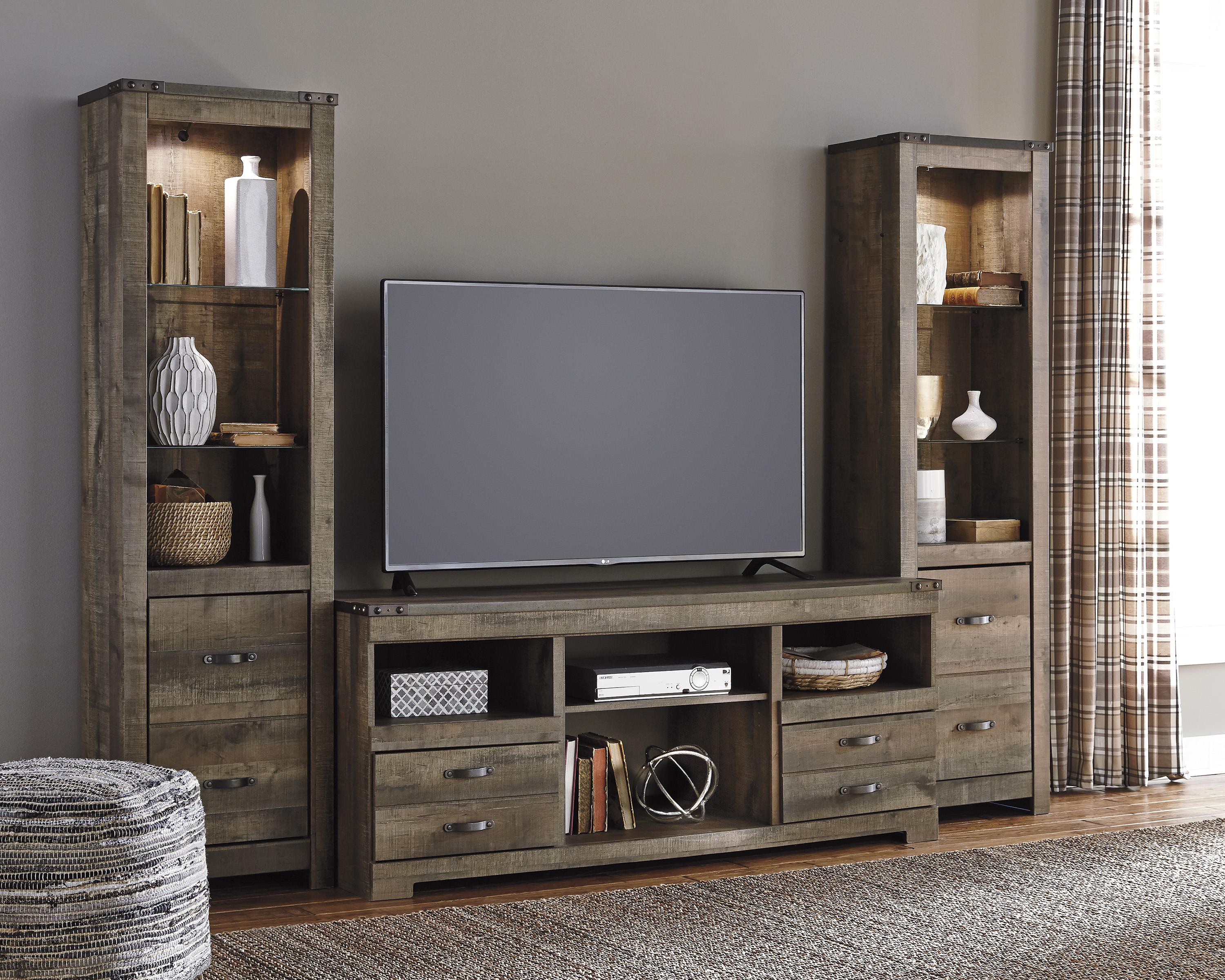 signature design by ashley trinell rustic large tv stand u0026 2 tall