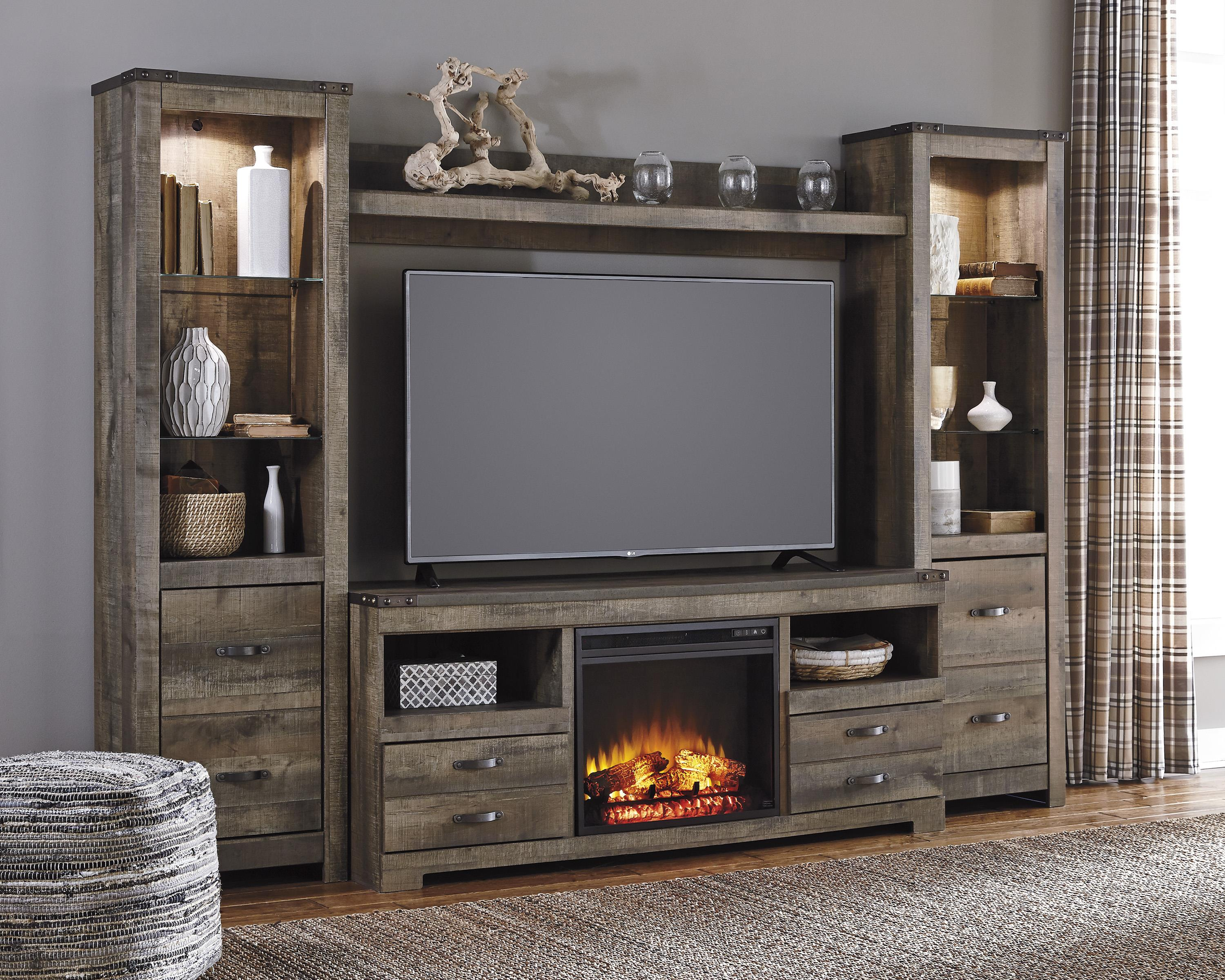 signature design by ashley trinell rustic large tv stand 2 tall piers wayside furniture wall unit - Entertainment Centers Tv Stands