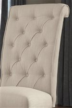Upholstered Side Chairs with Button Tufting and Roll Back