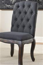 Transitional Style Dark Gray Upholstered Chair with Cabriole Legs and Tufted Back
