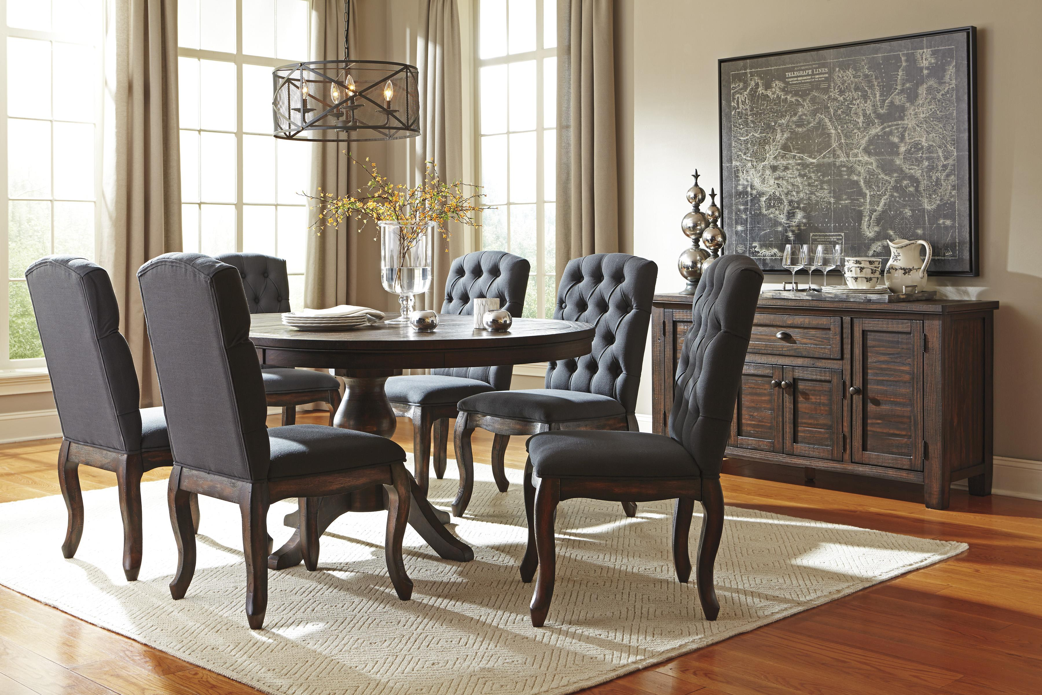 Signature Design by Ashley Trudell 7-Piece Oval Dining Table Set with Wood Seat Side Chairs | Wayside Furniture | Dining 7 (or more) Piece Sets & Signature Design by Ashley Trudell 7-Piece Oval Dining Table Set ...