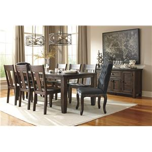 Signature Design by Ashley Trudell 9-Piece Rectangular Dining Table Set with Upholstered Chairs & Wood Seat Chairs