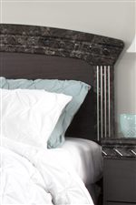 Panel Headboard with Faux Marble Accent