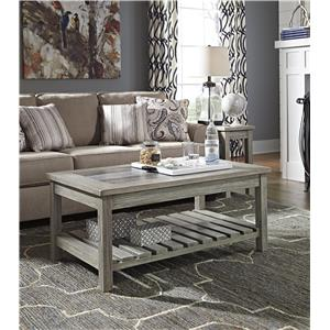 Signature Design by Ashley Veldar Chair Side End Table with Ceramic Tile Top and Slat Shelf