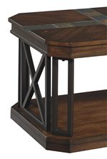 Table Frame with Dark Bronze Color Finish and Inlaid Slate Tile