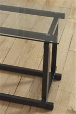 Clean Lines with Black Metal Frame and Clear Glass Table Tops