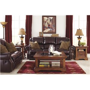 Signature Design by Ashley Walworth Leather Match Reclining Power Sofa with Nailhead Trim