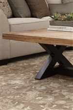 Mango Wood Table Tops. X-Shaped Metal Bases in Black Finish.