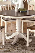 Round Table with Turned Single Pedestal
