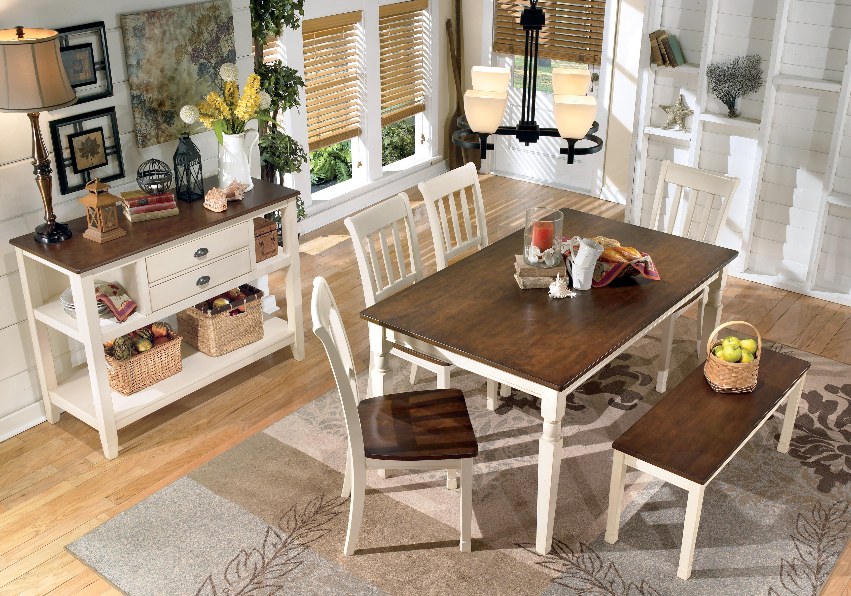 Signature Design By Ashley Whitesburg 5 Piece Rectangular Dining Table Set  | Wayside Furniture | Dining 5 Piece Sets