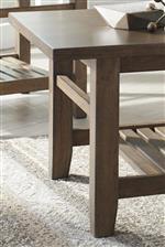 Tapered Table Legs. Slat Shelves.