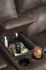 Center Armrest with Storage and Cup Holders on Loveseat