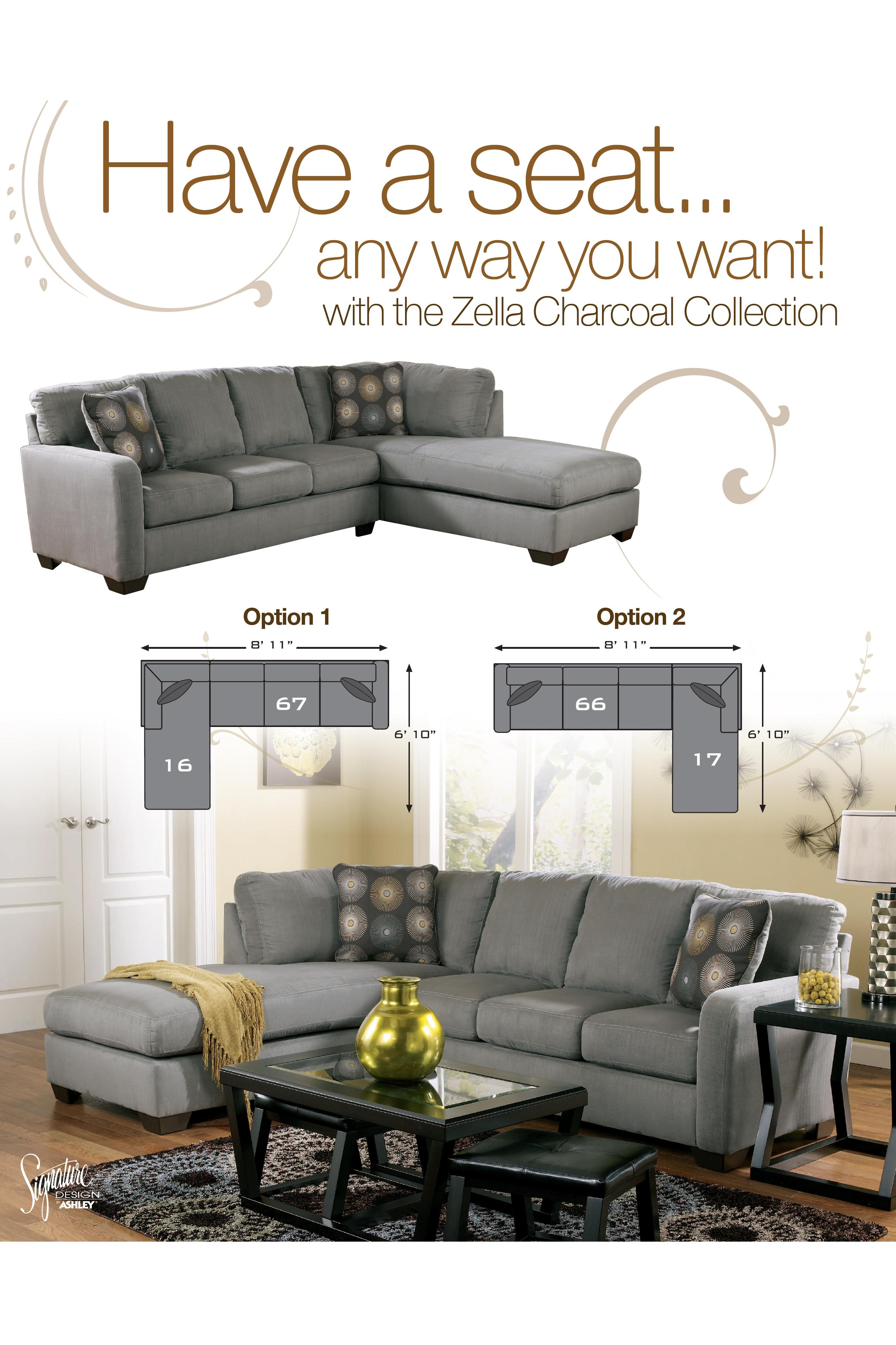 Signature Design by Ashley Zella - Charcoal Contemporary Sectional ...