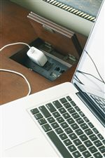 Touch Latch Laptop Docking Station with Outlets and Telephone and USB Ports on Isle of Palms Credenza