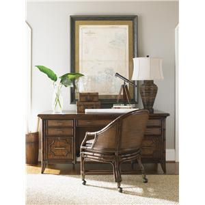 Sligh Bal Harbour 293SA Malibu Writing Desk with Leather-Bound Rattan Shelves