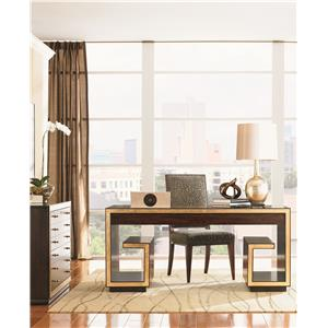 Sligh Bel Aire Paramount Executive Desk with File Storage, Wire Management, and Gold Tipping