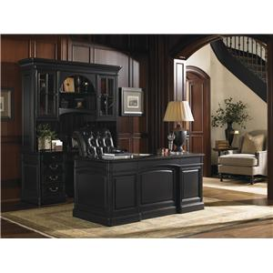 Woodland Credenza with Deck and Broadmoor Pedestal Desk No Longer Available from Manufacturer