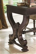 Carved Serpentine Legs and Stretchers Add Detail to a Table Desk