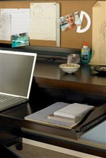 Pull-Out Tray on Full-Extension Drawer Guides Provides Keyboard Storage or Extra Work Space