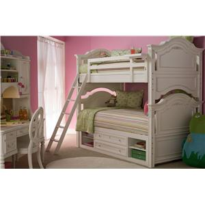 Morris Home Furnishings Greenville Twin-Over-Twin Bunk Bed with Decorative Molding Accents & Floating Clock Shelf