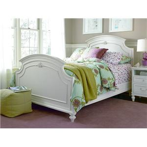 Smartstuff Gabriella Full-Size Panel Headboard & Footboard Bed with Floral Moldings & Underbed Trundle with Removable Storage Trays