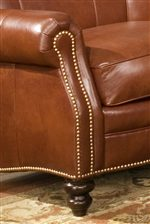 Rolled Arms, Nailhead Trim, and Turned Feet