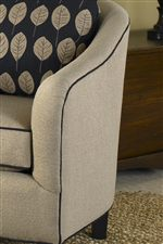 Sloped Barrel Chair Arm with Welt Trim
